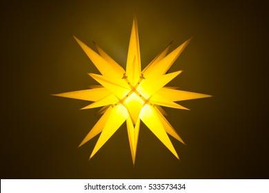 Yellow illuminated moravian star