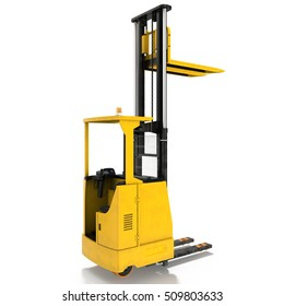 Yellow industrial fork lifter for cargo transport isolated on white. 3D illustration