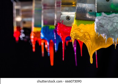 yellow ink drop down from print handle.Plastisol ink for print tee shirt is oil based.after printed the ink will stick on tee shirt for long time. in factory they hang on the print handle in the air
