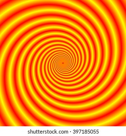 Yellow into Red via Orange Spiral / An abstract fractal image with an hypnotic spiral design in yellow, red and orange.