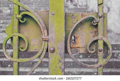 Yellow iron gate closed