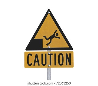 Yellow isolated fall danger caution sign.