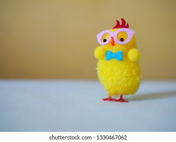 Yellow isolated lonely chicken