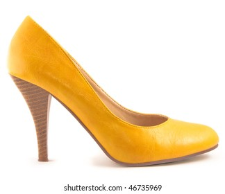 Yellow isolated shoe over white background