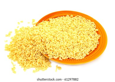 Yellow italian pasta over the white background