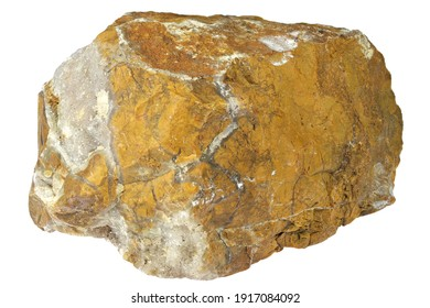 yellow jasper with agate from Italy isolated on white background