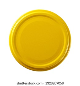 Yellow juice bottle lid isolated on white background, top view