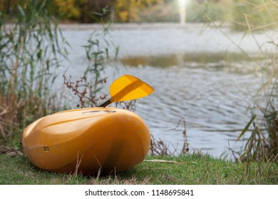 Yellow kayak with the paddle standing on the beach of the lake