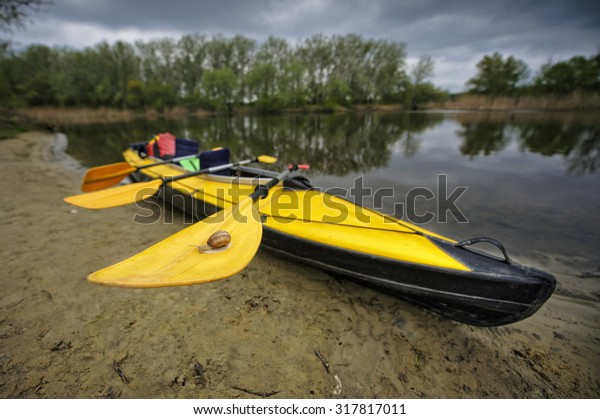 Yellow Kayak Ready Be Used On Stock Photo Edit Now 317817011