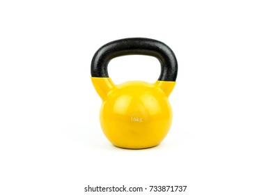 Yellow Kettlebell, Healthy Concept on White Background.