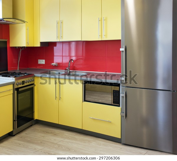 Yellow Kitchen Cupboards Topped Grey Worktops Stock Photo ...