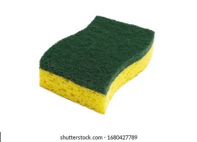 yellow kitchen sponge isolated against on white background in different poses. Sponge isolated on white background. Scrub yellow sponge design, close up Cleaning sponge.