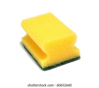 Yellow kitchen sponge isolated on white background.