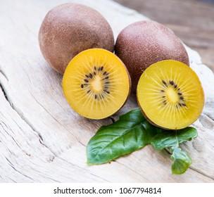 Yellow kiwi close up