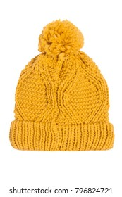 Yellow knitted hat isolated on white background