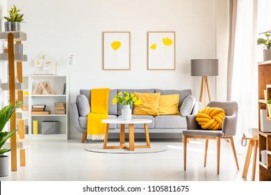 Yellow knot pillow on grey armchair in modern living room interior with posters above couch. Real photo