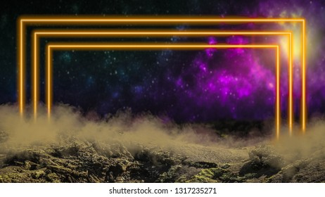 Yellow laser neon light portal gate over outer space background with galaxies and stars. Extraterrestrial alien planet.