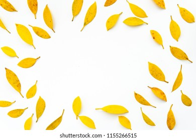 yellow leaf background.Creative autumn pattern of yellow and orange leaves on white background.Flat lay.