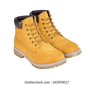 Yellow leather boots isolated w/ path. Personal protective equipment. Hiking boots. Working boots.