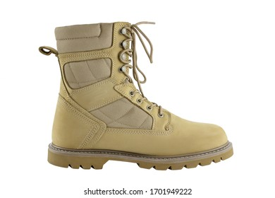 Yellow leather hiking boot isolated on white background