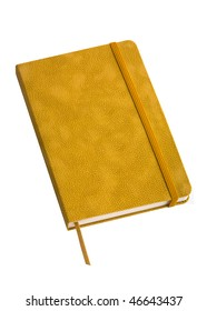 yellow leather notebook isolated on white background