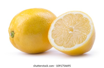 yellow lemon citrus fruit with lemon fruit half isolated on white background with clipping path