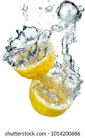 Yellow lemon falling into water