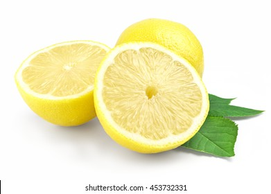 Yellow lemon and halves isolated on white background with a green leaf.