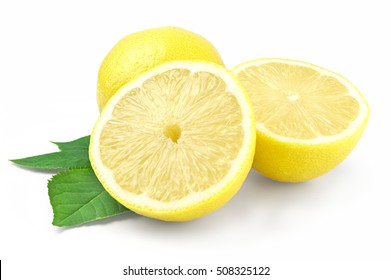 Yellow lemon and halves isolated on white background cutout.