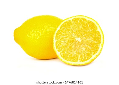Yellow lemon isolated on white background. Sour vegetarian that can be used for many kinds of dishes and juice.
