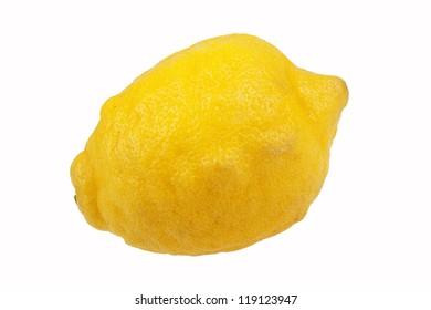 Yellow lemon on white background