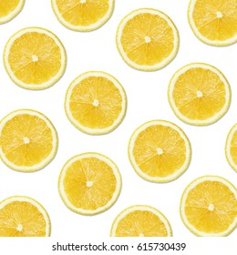 yellow lemon slices on white Background, Close-up Studio Photography