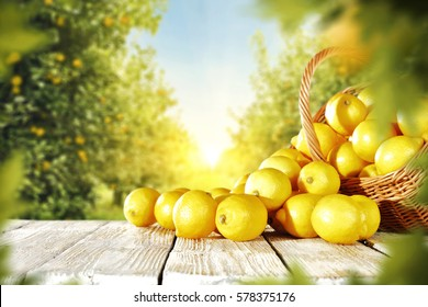 yellow lemons on wooden table place