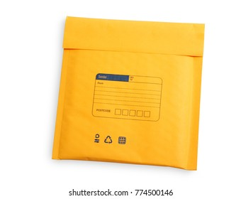 Yellow letter envelope with air bubble wrap for cd and dvd isolated over white background, clipping path.