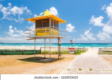 Yellow lifeguard tower at Kirra Beach on the Gold Coast, Queensland, Australia.