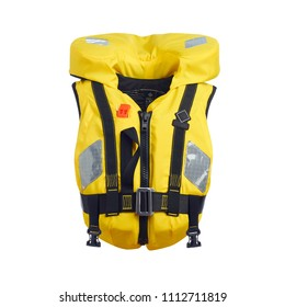 Yellow Lifejacket Isolated on White Background. Front View of  Inflatable Life Jacket. PFD Personal Flotation Device. Children's Cork Jacket. Buoyancy Aid or Flotation Suit