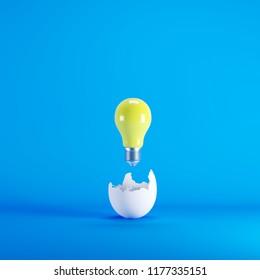 Yellow lightbulb floating born from white Egg on blue blackground. minimal idea concept.