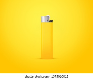 Yellow lighter isolated on yellow background with clipping path. Disposable plastic lighter. Surface closeup for your design. Blank gas cigar-lighter mockup element.