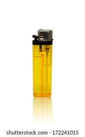 Yellow lighter isolated on white background, clipping path.