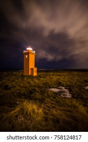 Yellow lighthouse located at Reykjanes peninsula in Iceland.