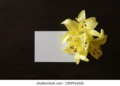 yellow lilies flowers on black wood background with copy space