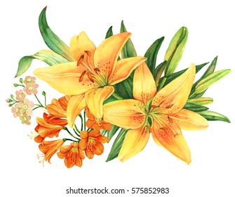 Yellow lily flower watercolor bouquet