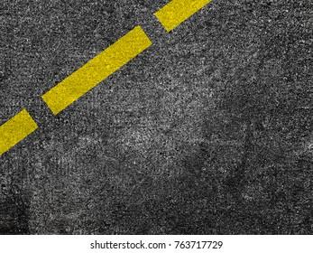 Yellow line on asphalt road background.