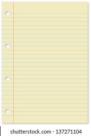 Yellow lined paper with holes blank with copy space