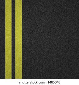 yellow lines on tarmac