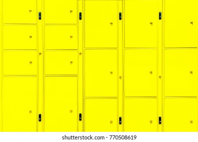 Yellow locker cabinet box background for automatic self service storage concept