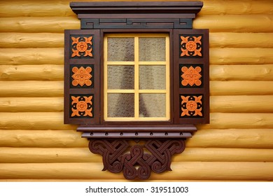 Yellow Log Cabin Wall With One Ornamental Window,  Wooden Architecture Background