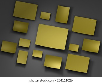 yellow logo Paper stickers. 3D render