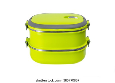 Yellow lunch box on a white background isolated