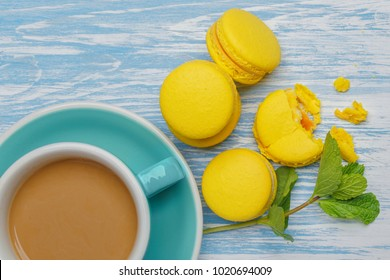 Yellow macarons. French delicate dessert for Breakfast in the morning light